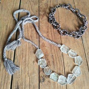 Crystal Tie & J. Crew Rhinestone Chain Necklaces